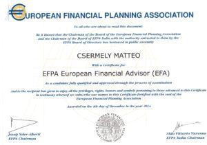 certificato EFA
